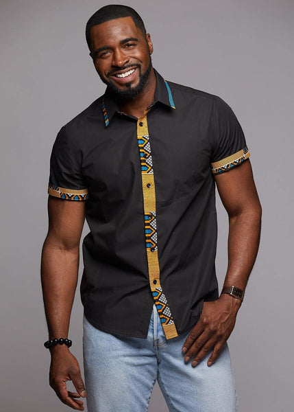 Tops - Zaire Button-Up African Print Trim Shirt (Blue/Tan/Black)