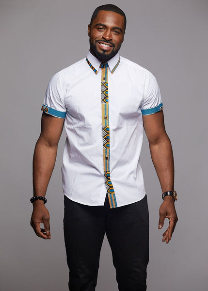 Tops - Zaire Button-Up African Print Trim Shirt (Blue/Tan/White)