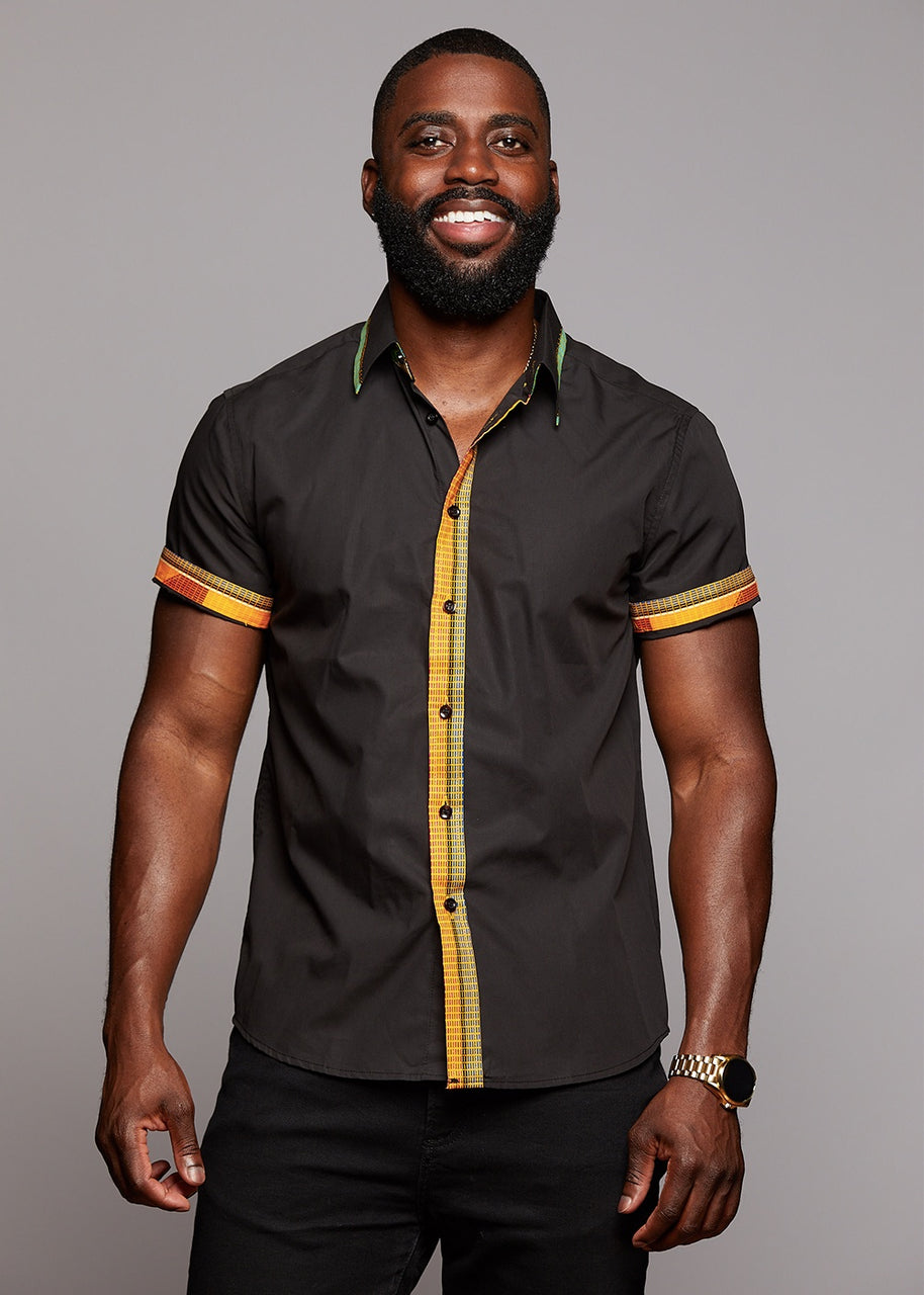 Tops - Zaire Button-Up African Print Trim Shirt (Green/Tan/Yellow/Black)