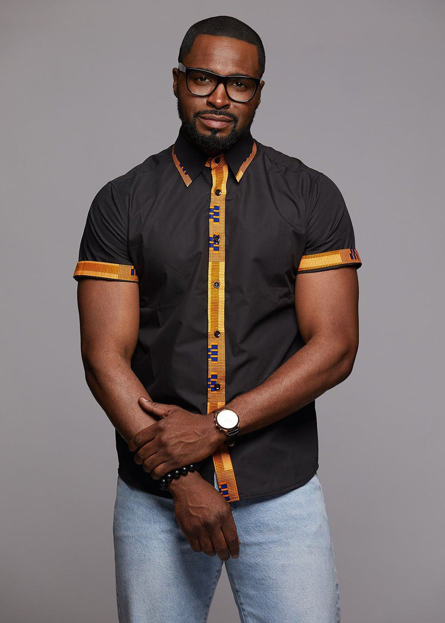 Tops - Zaire Button-Up African Print Trim Shirt (Tan Kente/Black)
