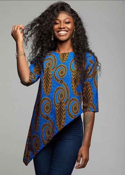 Tops - Zulu African Print Asymmetric Tunic (Blue Gold Leaves)