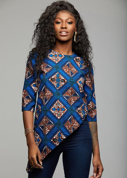 Tops - Zulu African Print Asymmetric Tunic (Blue Tan Diamonds)