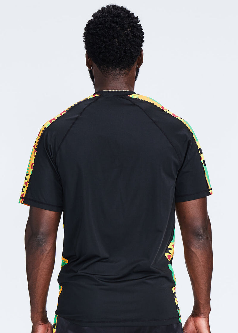 Isan African Print Mens' Performance T-shirt (Black/Gold Maroon Kente)
