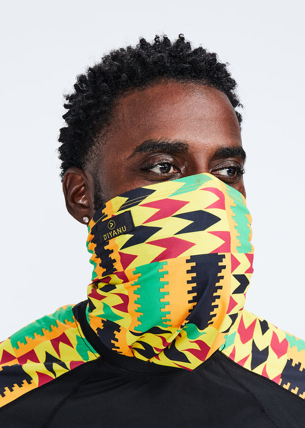 Tikib African Print Tube Face Mask (Gold Maroon Kente)