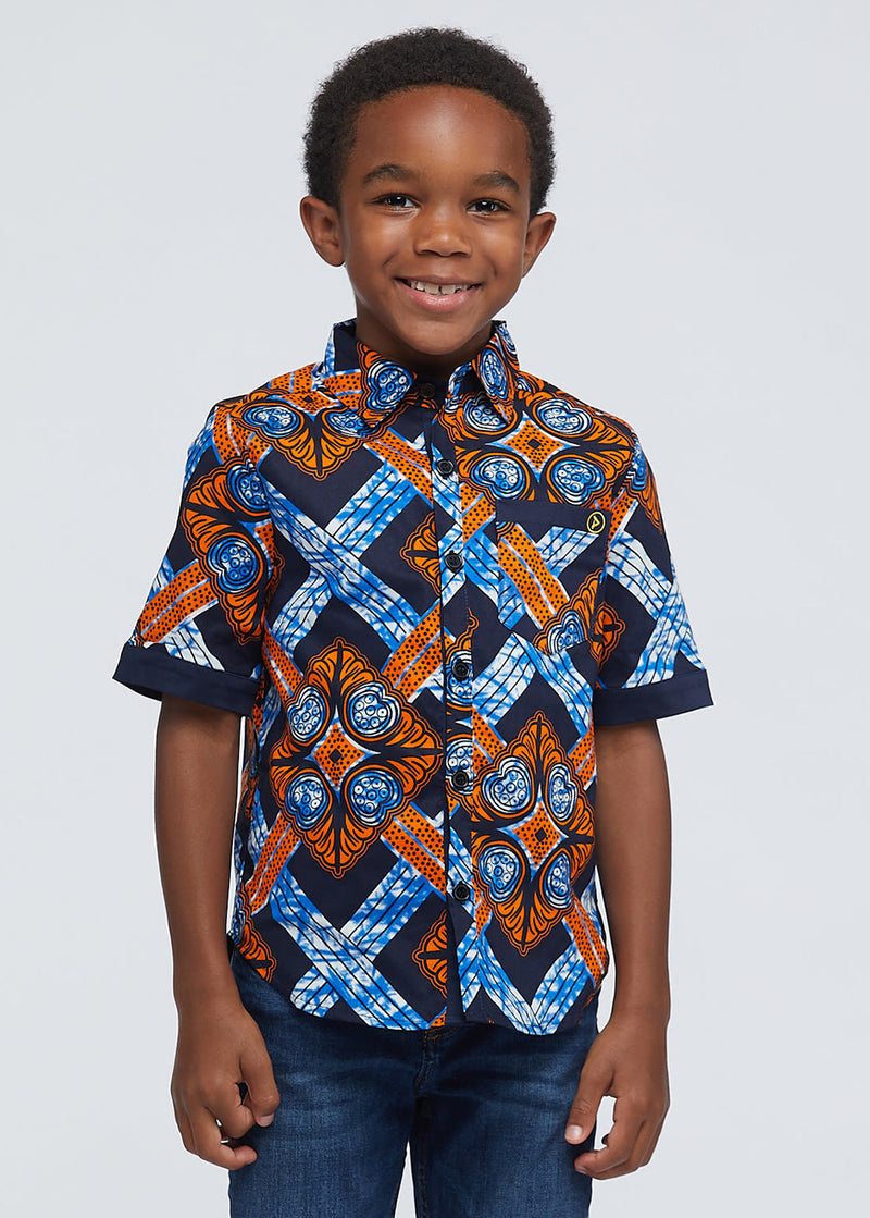 Walid African Print Boys' Button-Up (Navy Orange Tiles)