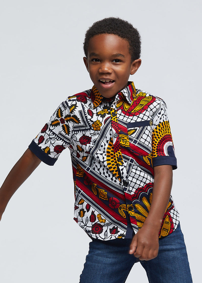Walid African Print Boys' Button-Up (White Gold Multipattern)
