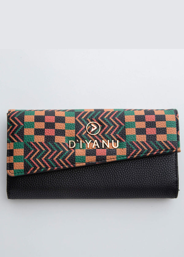 Amare African Print Women's Faux Leather Wallet (Green Tan Kente)