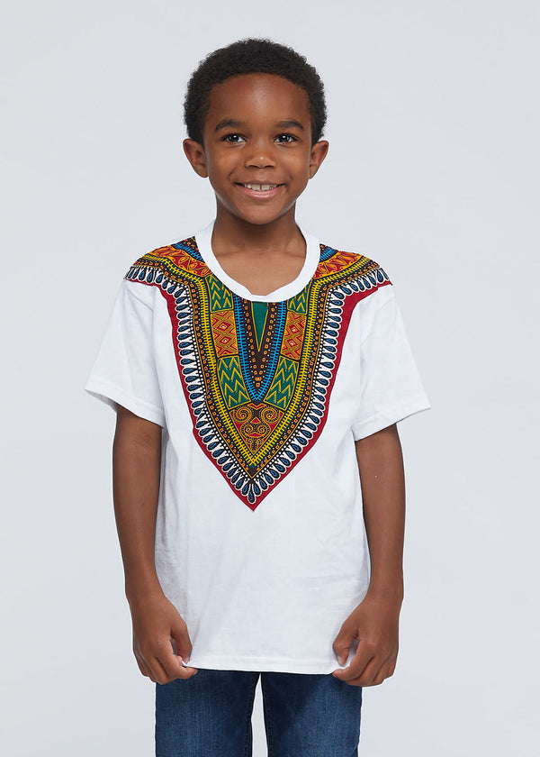 Kid's African Print Dashiki T-Shirt (White)