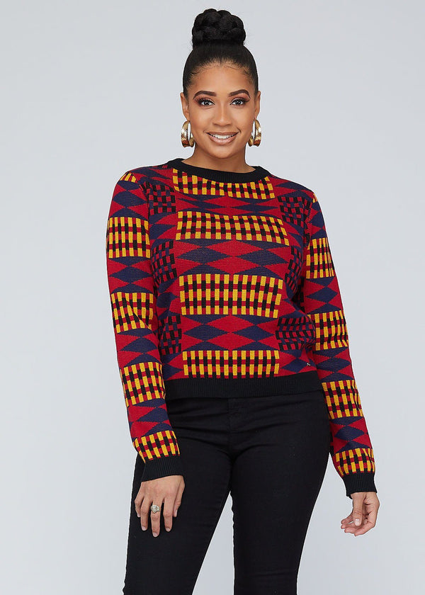 Abani African Print Kente Women's Sweater (Blue Red Kente)