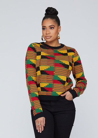 Women's Tops - Abani African Print Kente Women's Sweater (Yellow Red Kente)