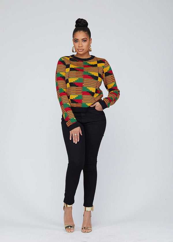 Abani African Print Kente Women's Sweater (Yellow Red Kente)