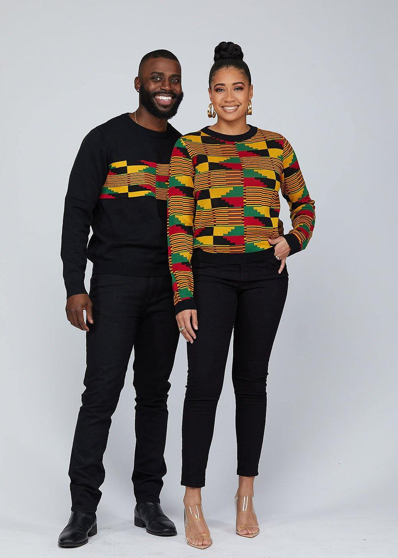 Abani African Print Kente Women's Sweater (Yellow Red Kente) - Clearance