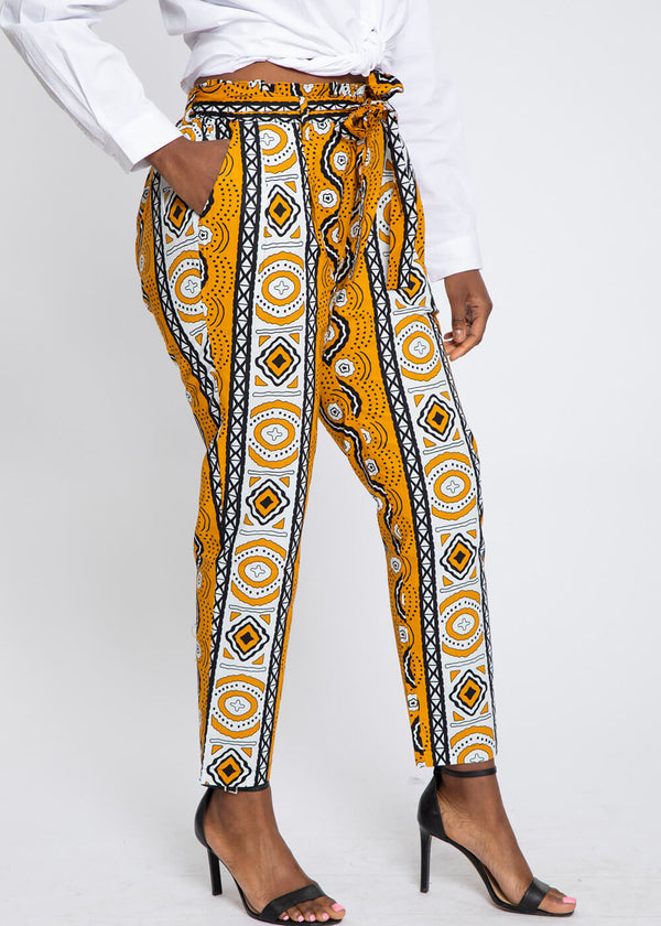 Jemila African Print Mid-Rise Pants (Gold White Mudcloth)