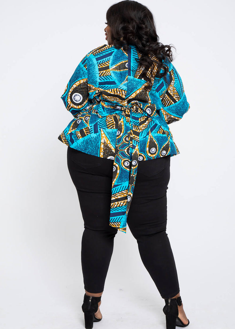Omi African Print V-Neck Peplum Blouse (Sky Blue Black Flowers)