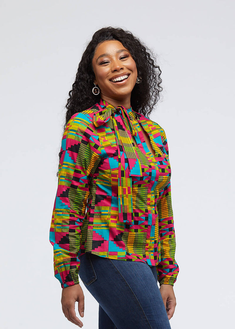 Sade African Print Cut-Out Button-Up Shirt (Raspberry Yellow Kente)