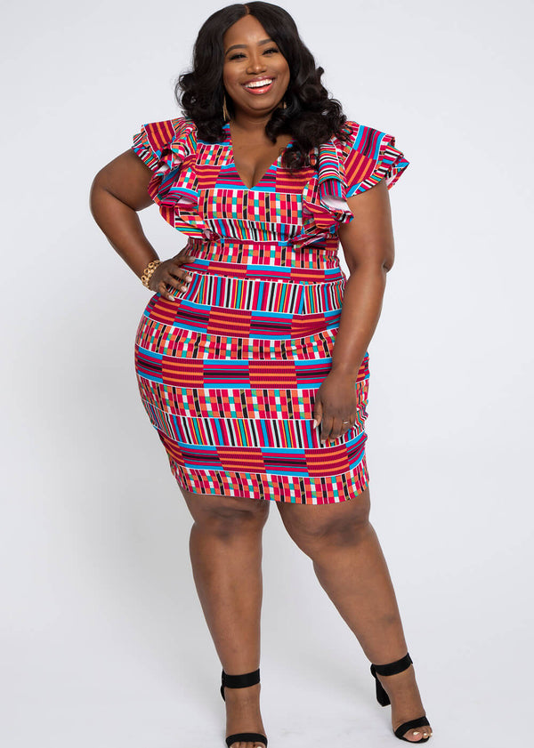 Lupita African Print Stretch Woven Ruffle Dress (Pink Blue Kente)