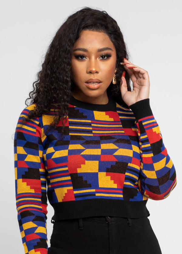 Ara African Print Cropped Sweater (Indigo Red Kente)