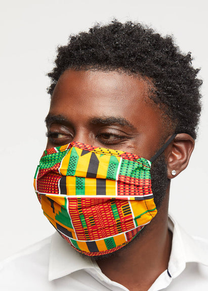 Uzo African Print 2 Layer Reusable Face Mask (Yellow Green Kente)