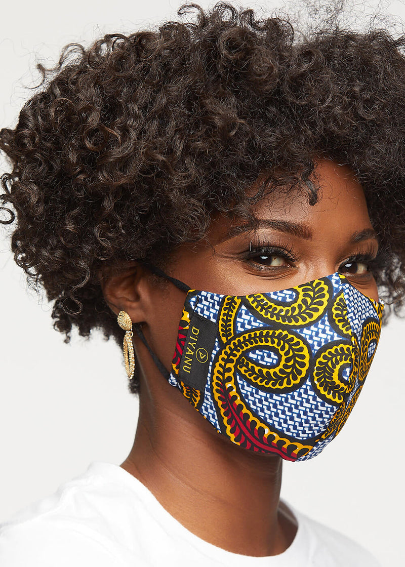 Shaka African Print 3 Layer Reusable Face Mask (Red Yellow Vines) - Clearance