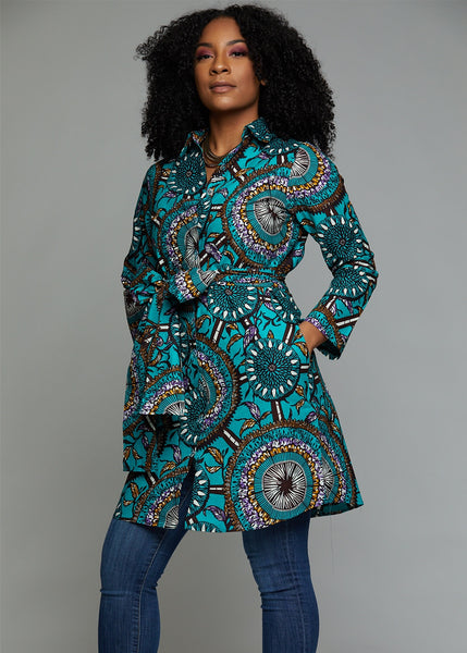 Zaki African Print Button-Up Dress (Teal Flowers)