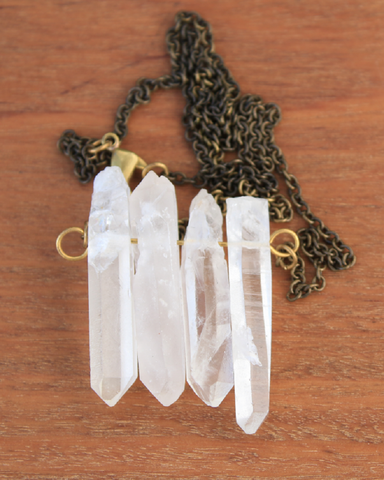 4 Quartz Point Crystal Necklace