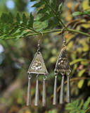 Hmong Triangle Flower - Handmade Earrings