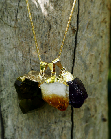 Smoky Quartz, Amethyst & Citrine Pendants on Gold Snake Chain
