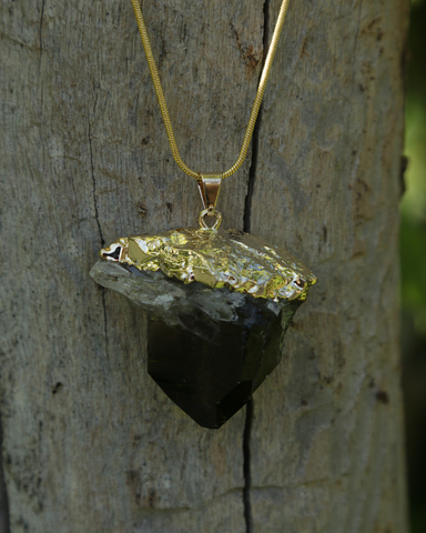 Smokey Quartz Crystal Druzy on Gold Snake Chain