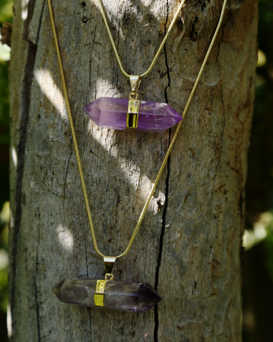 Amethyst Double Point Crystal on Gold Snake Chain