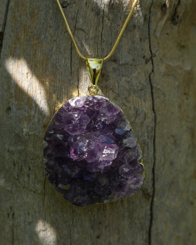 Amethyst Druzy Crystal on Gold Snake Chain
