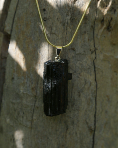 Black Tourmaline Crystal on Gold Snake Chain