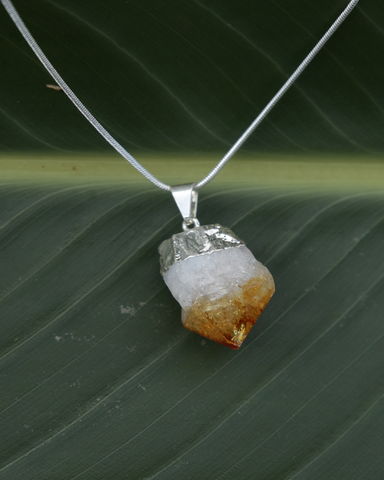 Citrine Point Crystal on Sterling Silver Snake Chain