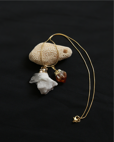 Quartz & Citrine Double Pendant on Gold Snake Chain