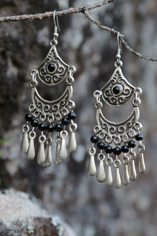 Turkish Earrings-Blue or Black Beads