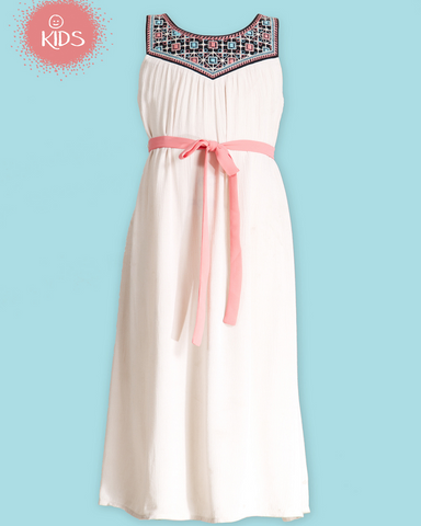 Girls Embroidered Maxi Dress