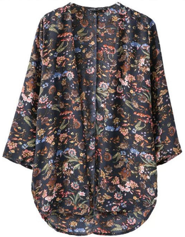 Open Blouse Cape - navy or tan