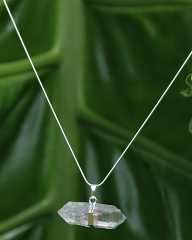 Large Quartz Crystal Point Pendant on Silver Snake Chain