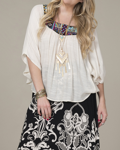 Plus Size Embroidered Top - ivory