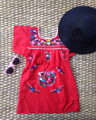 Size 2-4 Girls Embroidered Mexican Dress - assorted colours