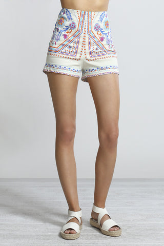 High Waisted Printed Shorts- Cream with Floral Print