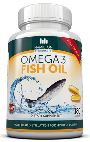 Omega 3 Fish Oil TRIPLE STRENGTH 180 Softgels by Hamilton Healthcare