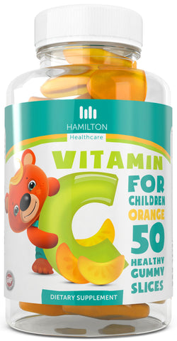 Vitamin C for Children, Healthy Gummy Slices Orange Flavor with No Artificial Flavors