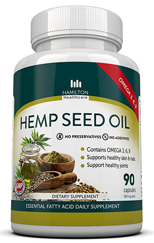 Hemp Seed Oil Capsules with Omega 3, 6, 9 Fatty Acids - by Hamilton Healthcare