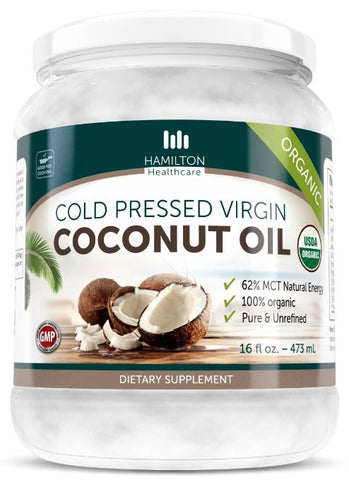 Coconut Oil, Organic Extra Virgin, Cold Pressed, Pure & Unrefined by Hamilton Healthcare