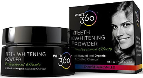 Activated Charcoal Teeth Whitening Powder, 100% Organic & Natural, by White 360
