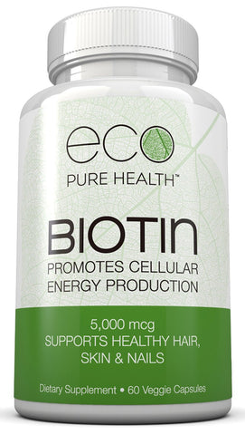 Biotin Dietary Supplement 60 Capsules by Eco Pure Health