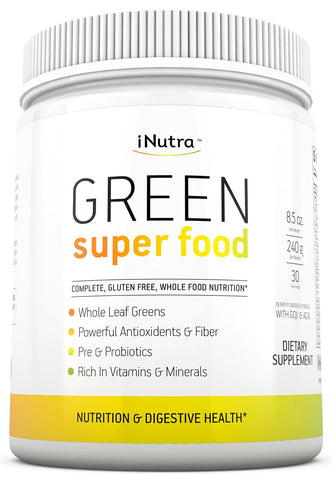 Green Super Food Powder - Gluten Free, Vegan Whole Food Nutrition by iNutra