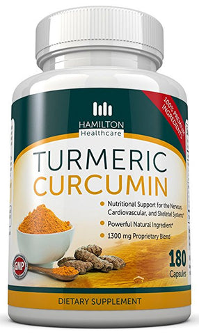 Turmeric Curcumin 180 Capsules - All Natural Supplement By Hamilton Healthcare