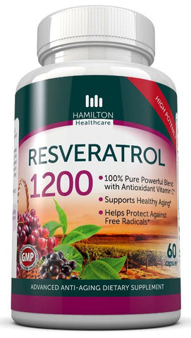 Resveratrol Maximum Strength 1200mg, 60 Capsules By Hamilton Healthcare