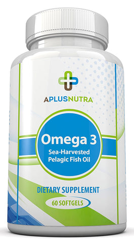 Omega 3 Sea Harvested Pelagic Fish Oil Supplement with EPA & DHA by A Plus Nutra